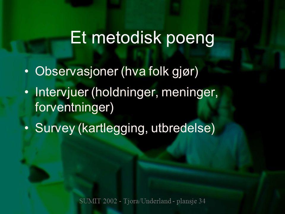 SUMIT 2002 - Tjora/Underland - plansje 34 Et metodisk poeng Observasjoner (hva folk gjør) Intervjuer (holdninger, meninger, forventninger) Survey (kar