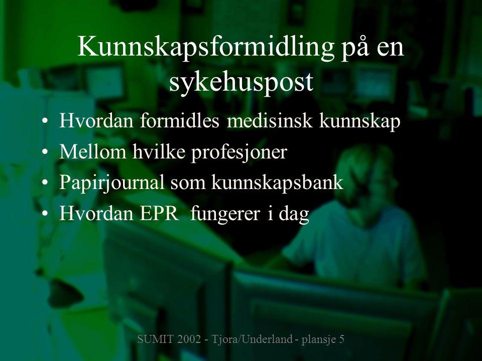 SUMIT 2002 - Tjora/Underland - plansje 5 Kunnskapsformidling på en sykehuspost Hvordan formidles medisinsk kunnskap Mellom hvilke profesjoner Papirjournal som kunnskapsbank Hvordan EPR fungerer i dag