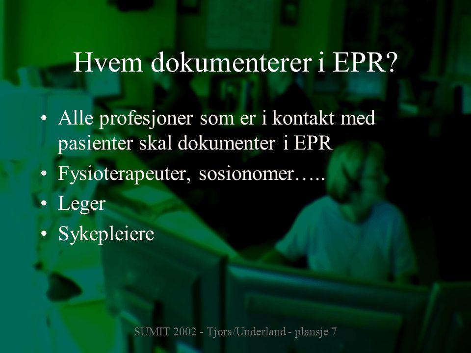 SUMIT 2002 - Tjora/Underland - plansje 7 Hvem dokumenterer i EPR? Alle profesjoner som er i kontakt med pasienter skal dokumenter i EPR Fysioterapeute