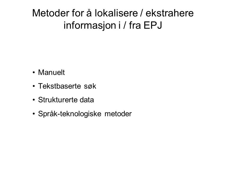 Manuelt Tekstbaserte søk Strukturerte data Språk-teknologiske metoder Metoder for å lokalisere / ekstrahere informasjon i / fra EPJ