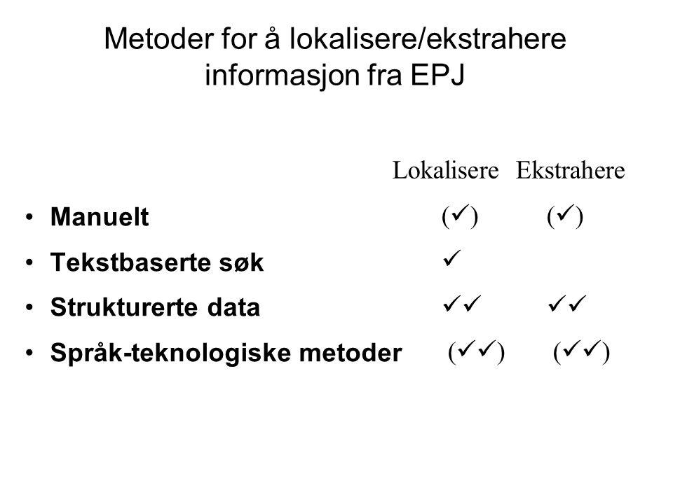 Manuelt Tekstbaserte søk Strukturerte data Språk-teknologiske metoder Metoder for å lokalisere/ekstrahere informasjon fra EPJ Lokalisere Ekstrahere (