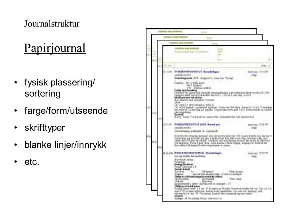 Journalstruktur Papirjournal fysisk plassering/ sortering farge/form/utseende skrifttyper blanke linjer/innrykk etc.