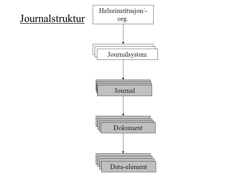 Journalstruktur Journal Dokument Data-element Journalsystem Helseinstitusjon/- org.