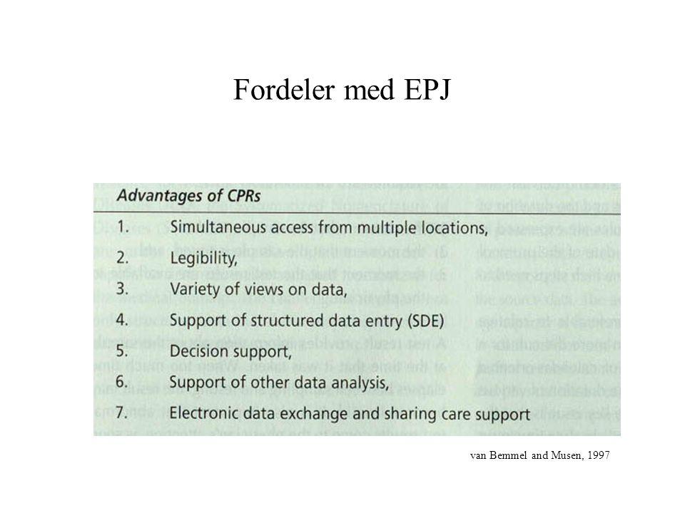 Fordeler med EPJ van Bemmel and Musen, 1997