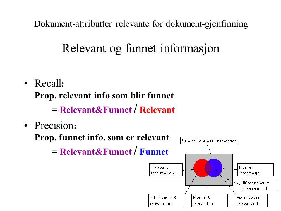 Recall : Prop. relevant info som blir funnet = Relevant&Funnet / Relevant Precision : Prop. funnet info. som er relevant = Relevant&Funnet / Funnet Do