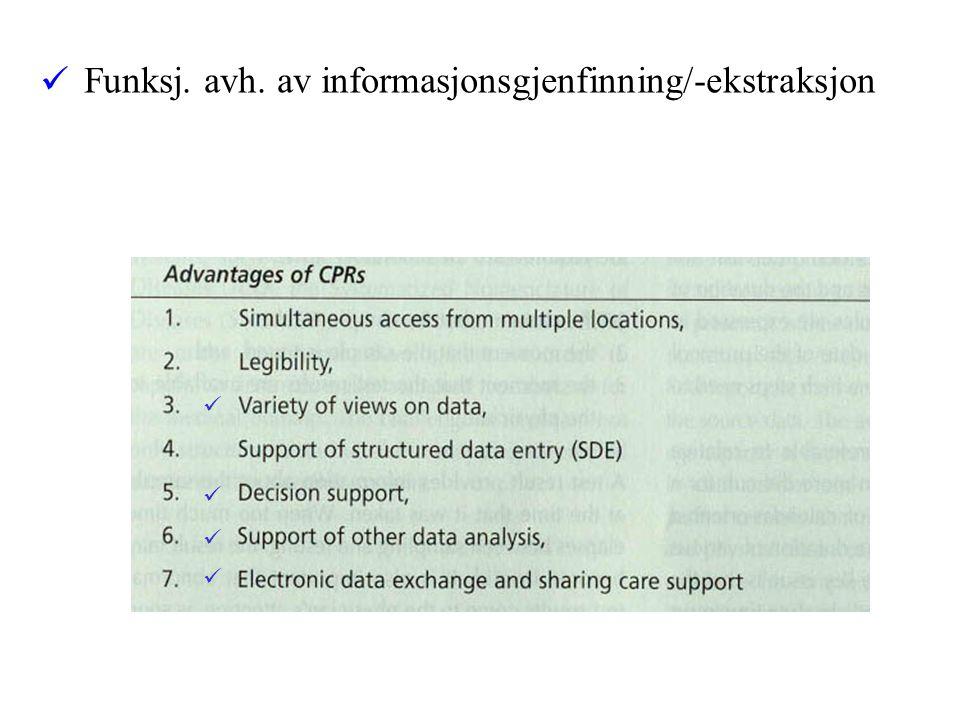 plassering i datbase-tabeller attributter indeksering tagging etc. Journalstruktur EPJ