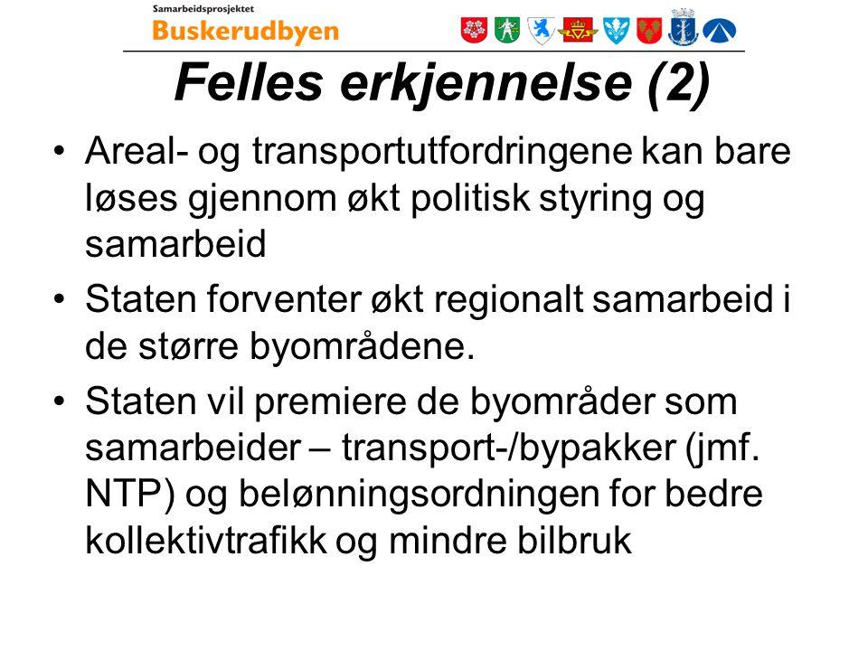 Buskerudbyen = Forpliktende regional areal- og transportsamarbeid - Faglig og territoriell samordning 5 kommuneplaner Buskerudby- prosjektet Fylkes(del)-planer NTP - HP KVU jernbane/gods Kollektivtrafikk – fk, NSB Regional arena for areal- og transportrelaterte saker (koll.transp, KVU, FB) Regional arena for areal- og transportrelaterte saker (koll.transp, KVU, FB) Buskerudbypakke med finansiering Buskerudbypakke med finansiering Veisystem Felles regional areal- og transportplan Samordnede prosesser