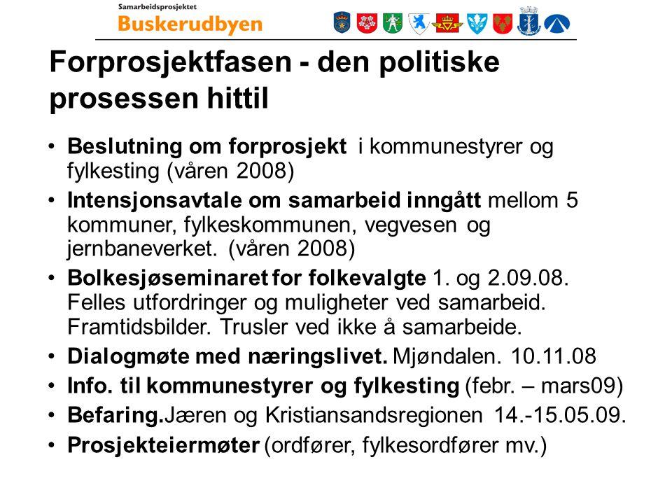 Forprosjektfasen - den politiske prosessen hittil Beslutning om forprosjekt i kommunestyrer og fylkesting (våren 2008) Intensjonsavtale om samarbeid inngått mellom 5 kommuner, fylkeskommunen, vegvesen og jernbaneverket.