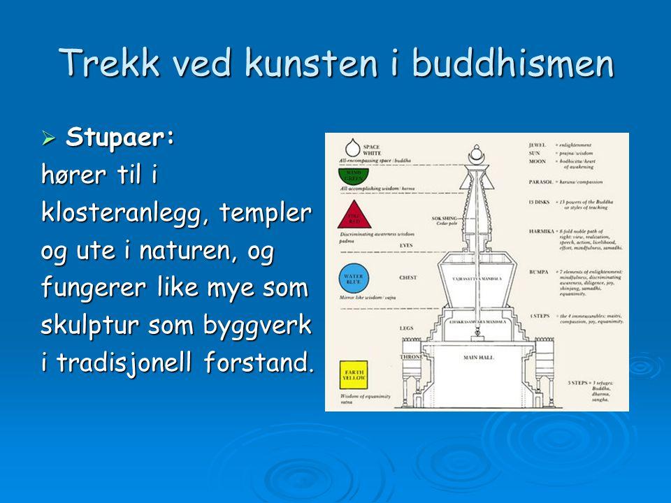 Trekk ved kunsten i buddhismen  Stupaer: hører til i klosteranlegg, templer og ute i naturen, og fungerer like mye som skulptur som byggverk i tradisjonell forstand.