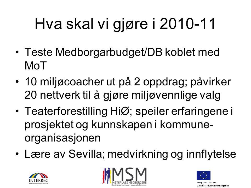Hva skal vi gjøre i 2010-11 Teste Medborgarbudget/DB koblet med MoT 10 miljøcoacher ut på 2 oppdrag; påvirker 20 nettverk til å gjøre miljøvennlige va