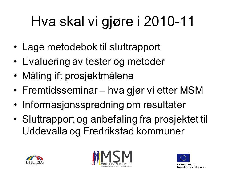 Hva skal vi gjøre i 2010-11 Lage metodebok til sluttrapport Evaluering av tester og metoder Måling ift prosjektmålene Fremtidsseminar – hva gjør vi et