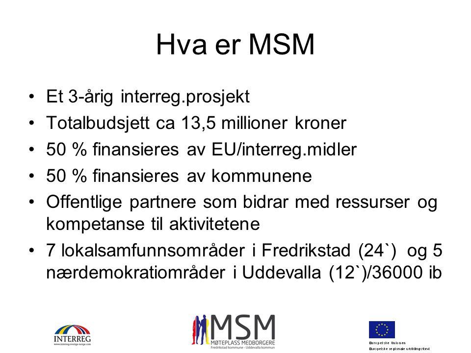 Hva er MSM Et 3-årig interreg.prosjekt Totalbudsjett ca 13,5 millioner kroner 50 % finansieres av EU/interreg.midler 50 % finansieres av kommunene Off