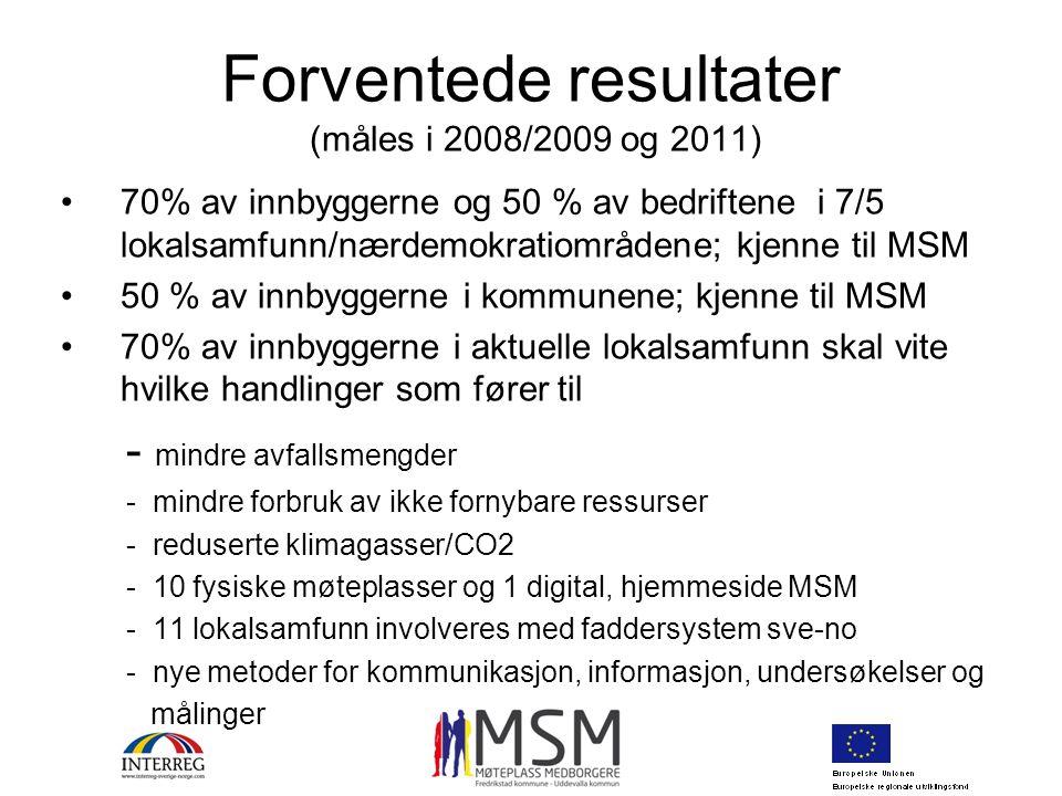 Forventede resultater (måles i 2008/2009 og 2011) 70% av innbyggerne og 50 % av bedriftene i 7/5 lokalsamfunn/nærdemokratiområdene; kjenne til MSM 50