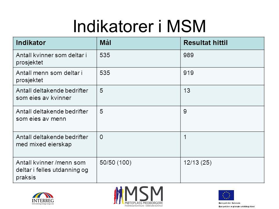 Indikatorer i MSM IndikatorMålResultat hittil Antall kvinner som deltar i prosjektet 535989 Antall menn som deltar i prosjektet 535919 Antall deltaken