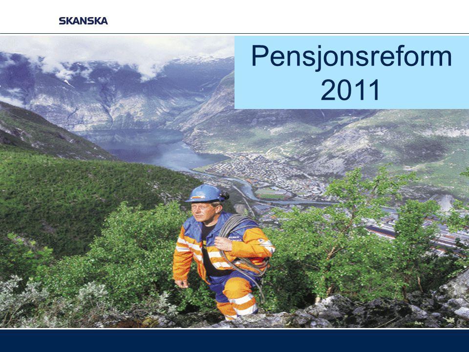 Pensjonsreformen på 1-2-3 1.Du tjener opp pensjon årlig med 18,1 % av inntekten (opp til 7,1G = pt ca 537.000 kr) 2.Du bygger deg opp en pensjonsbeholdning som løpende indeksreguleres 3.Du finner din årlige pensjon ved å dele beholdningen på gjenstående leveår i årskullet ditt når man går av – ved hjelp av delingstall Eksempel: Pensjonsbeholdning ved 67 år:kr.
