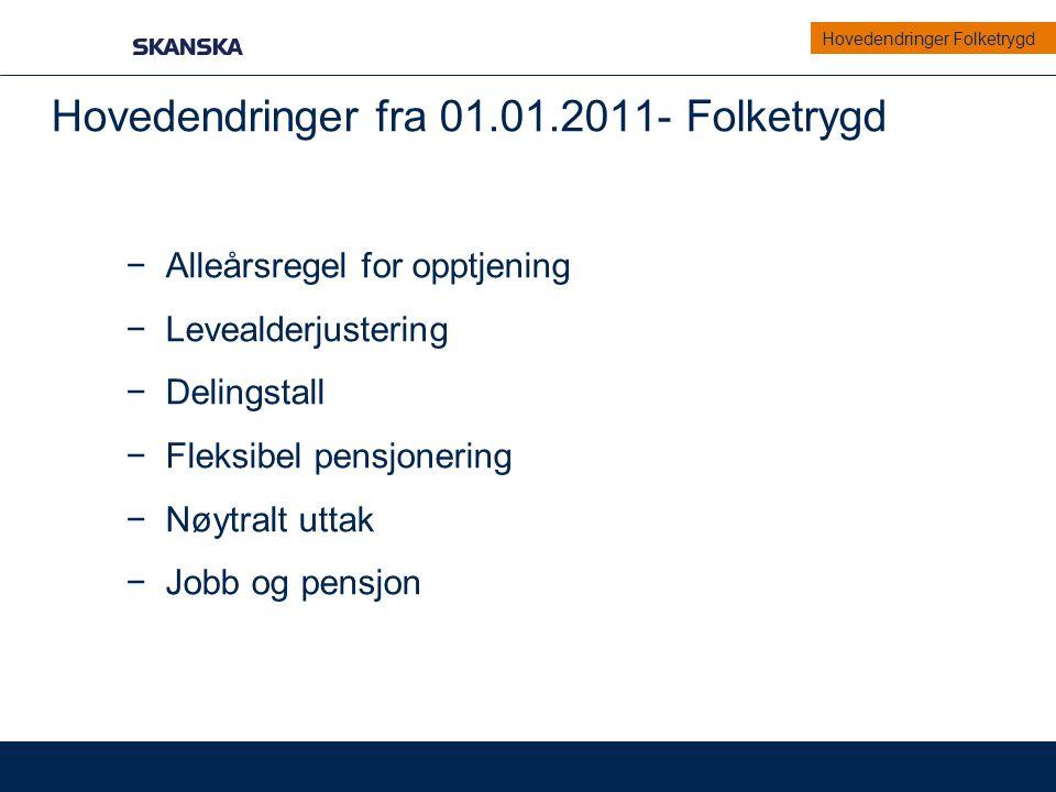 Eksempel Eksempel på beregning av pensjon fra NAV for en 62-åring i 2011: Alderspensjon (beregnet etter gammel Folketrygd) AFP påslag ( beregnes etter 0,314 % av akkumulert inntekt) Kr.