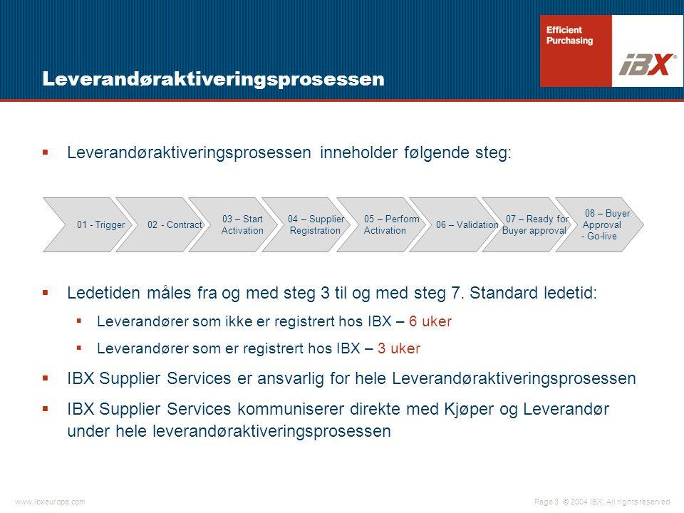 © 2004 IBX. All rights reservedwww.ibxeurope.com Page 3 Leverandøraktiveringsprosessen  Leverandøraktiveringsprosessen inneholder følgende steg:  Le