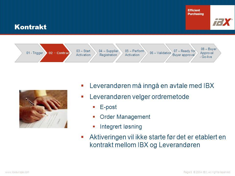© 2004 IBX. All rights reservedwww.ibxeurope.com Page 5 Kontrakt  Leverandøren må inngå en avtale med IBX  Leverandøren velger ordremetode  E-post