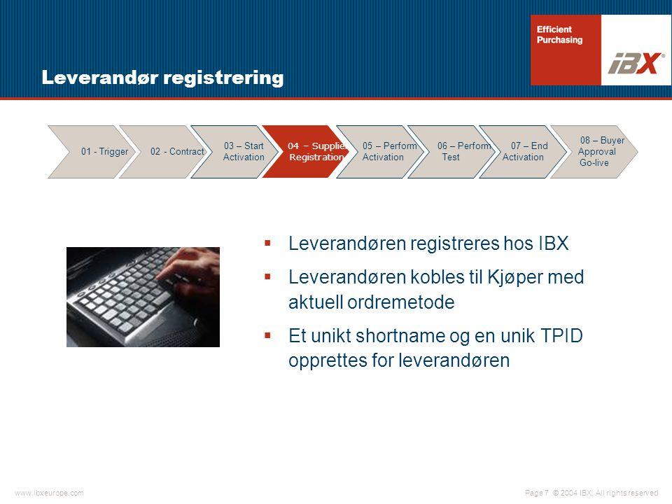 © 2004 IBX. All rights reservedwww.ibxeurope.com Page 7 Leverandør registrering  Leverandøren registreres hos IBX  Leverandøren kobles til Kjøper me