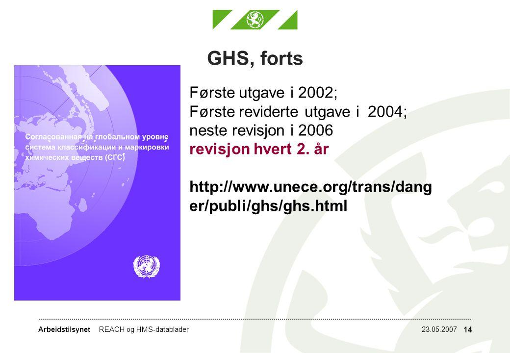 Arbeidstilsynet23.05.2007REACH og HMS-datablader 14 GHS, forts Første utgave i 2002; Første reviderte utgave i 2004; neste revisjon i 2006 revisjon hvert 2.