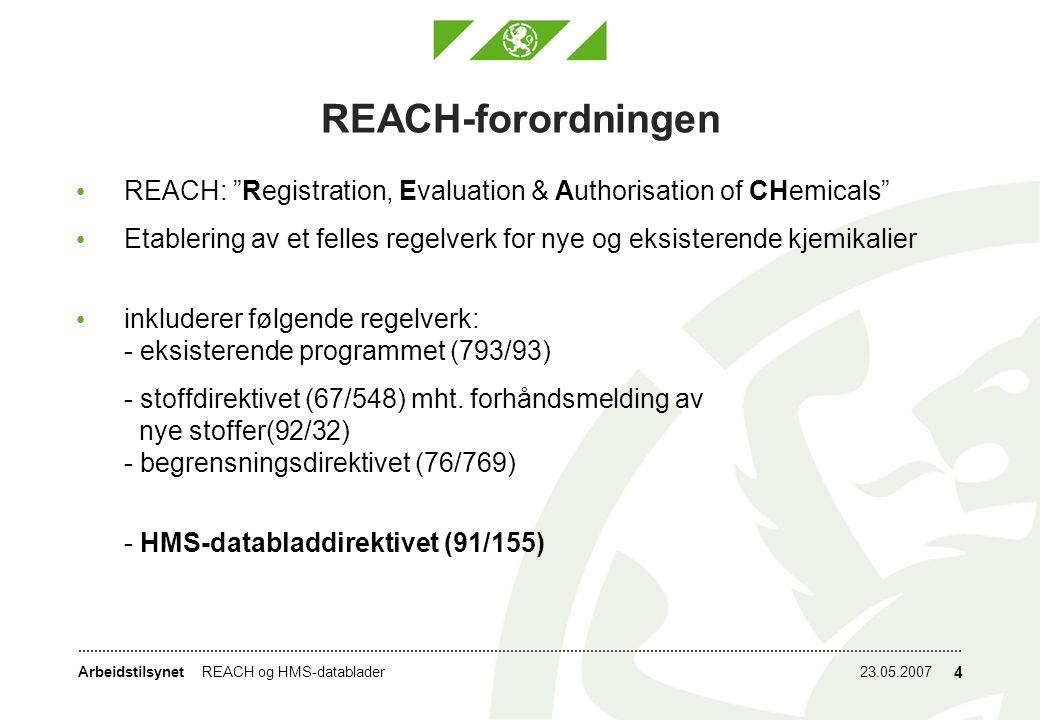 Arbeidstilsynet23.05.2007REACH og HMS-datablader 4 REACH-forordningen REACH: Registration, Evaluation & Authorisation of CHemicals Etablering av et felles regelverk for nye og eksisterende kjemikalier inkluderer følgende regelverk: - eksisterende programmet (793/93) - stoffdirektivet (67/548) mht.