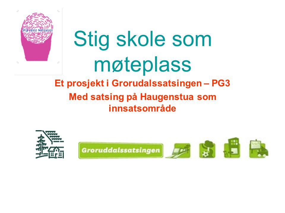 Stig skole som møteplass Et prosjekt i Grorudalssatsingen – PG3 Med satsing på Haugenstua som innsatsområde