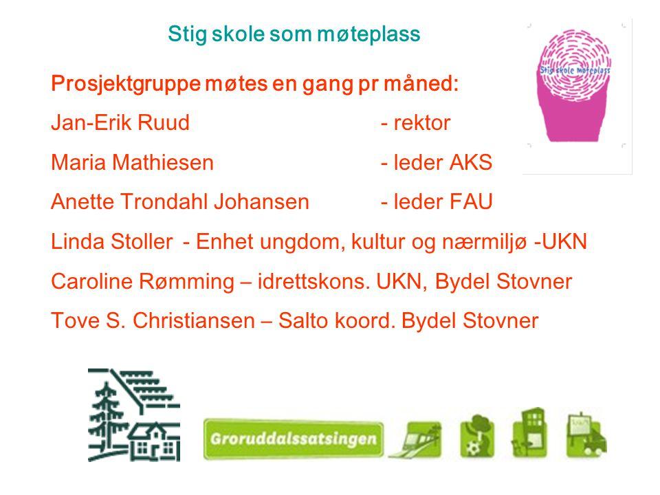 Stig skole som møteplass Prosjektgruppe møtes en gang pr måned: Jan-Erik Ruud- rektor Maria Mathiesen- leder AKS Anette Trondahl Johansen- leder FAU L