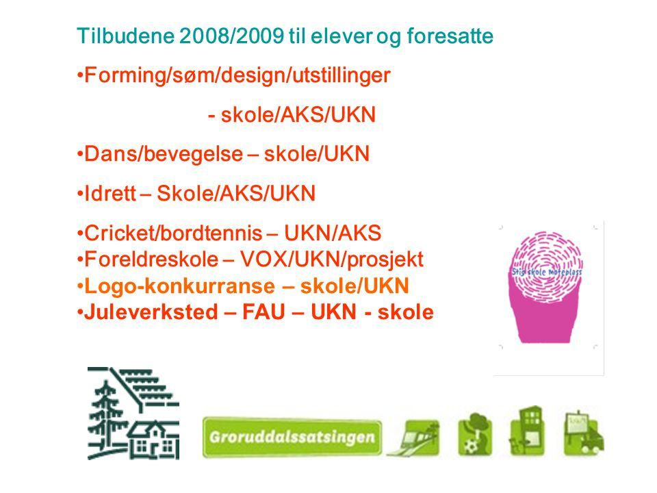 Tilbudene 2008/2009 til elever og foresatte Forming/søm/design/utstillinger - skole/AKS/UKN Dans/bevegelse – skole/UKN Idrett – Skole/AKS/UKN Cricket/