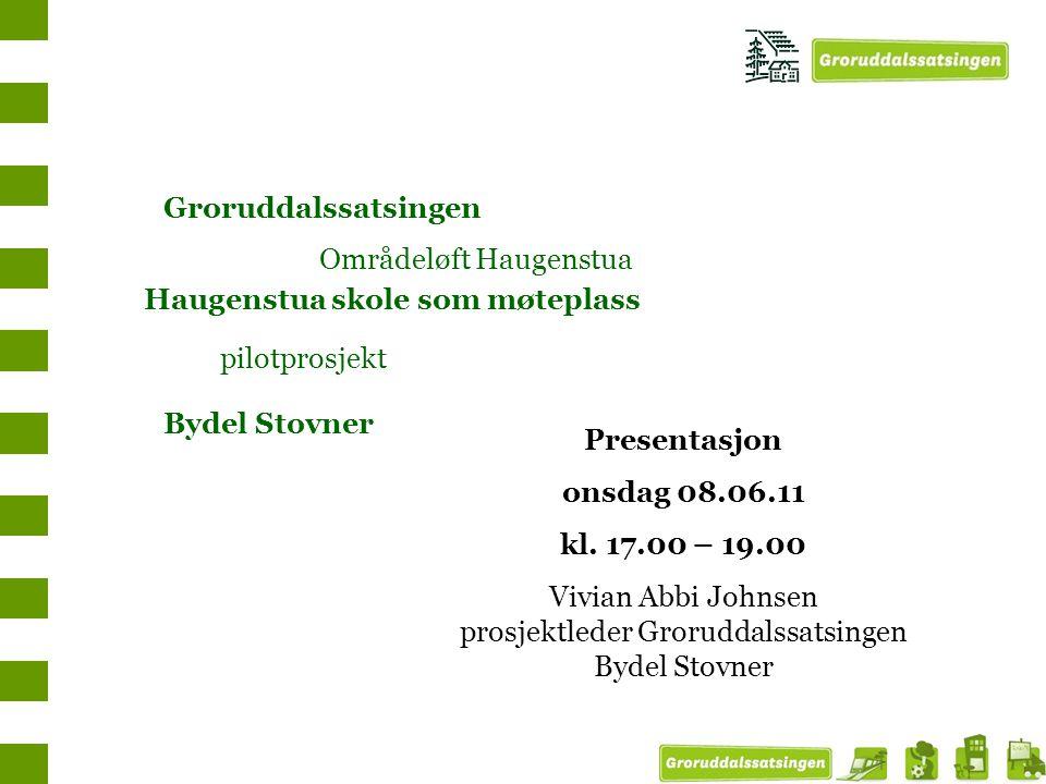 Haugenstua skole som møteplass pilotprosjekt Groruddalssatsingen Områdeløft Haugenstua Bydel Stovner Presentasjon onsdag 08.06.11 kl. 17.00 – 19.00 Vi