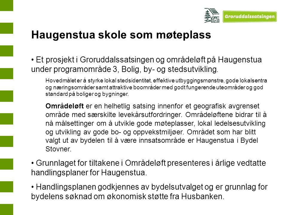 Haugenstua skole som møteplass Et prosjekt i Groruddalssatsingen og områdeløft på Haugenstua under programområde 3, Bolig, by- og stedsutvikling. Hove