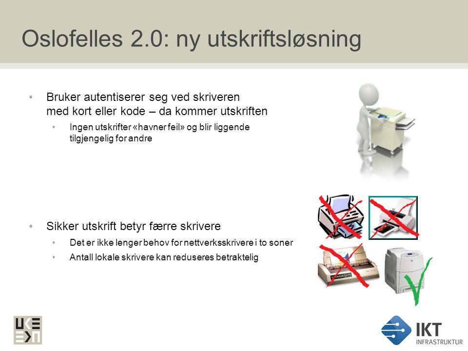 Oslofelles 2.0: applikasjoner Dagens klientapplikasjoner erstattes i stor grad av standardapplikasjoner i Oslofelles 2.0 Virksomhetsspesifikke applikasjoner / fagapplikasjoner gjøres tilgjengelig på Oslofelles 2.0 Prosjektet oppgraderer ikke virksomhetens applikasjoner Dersom oppgradering er nødvendig må virksomheten bekoste lisenser og støtte fra applikasjonsleverandør Ny kontorstøttepakke - MS Office 2010 Dersom fagapplikasjoner krever eldre versjoner av MS Office eller Internett Explorer støtter løsningen dette.