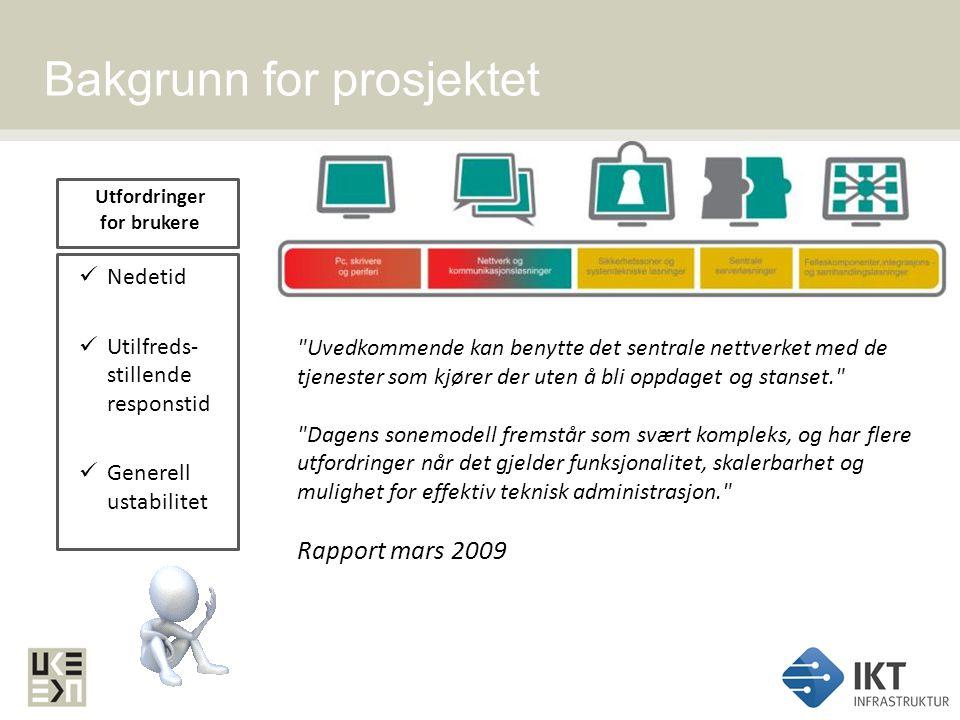 IKT Infrastrukturs hovedmål 1.Forbedre responstid, stabilitet og tilgjengelighet 2.Etablere løsninger med akseptabelt risikonivå 3.Tilrettelegge for nye elektroniske tjenester 4.Støtte virksomhetene til nødvendige lokale forbedringer IKT Infrastruktur Prosjektet skal opprette en ny grunnmur i den sentrale IKT infrastrukturen.