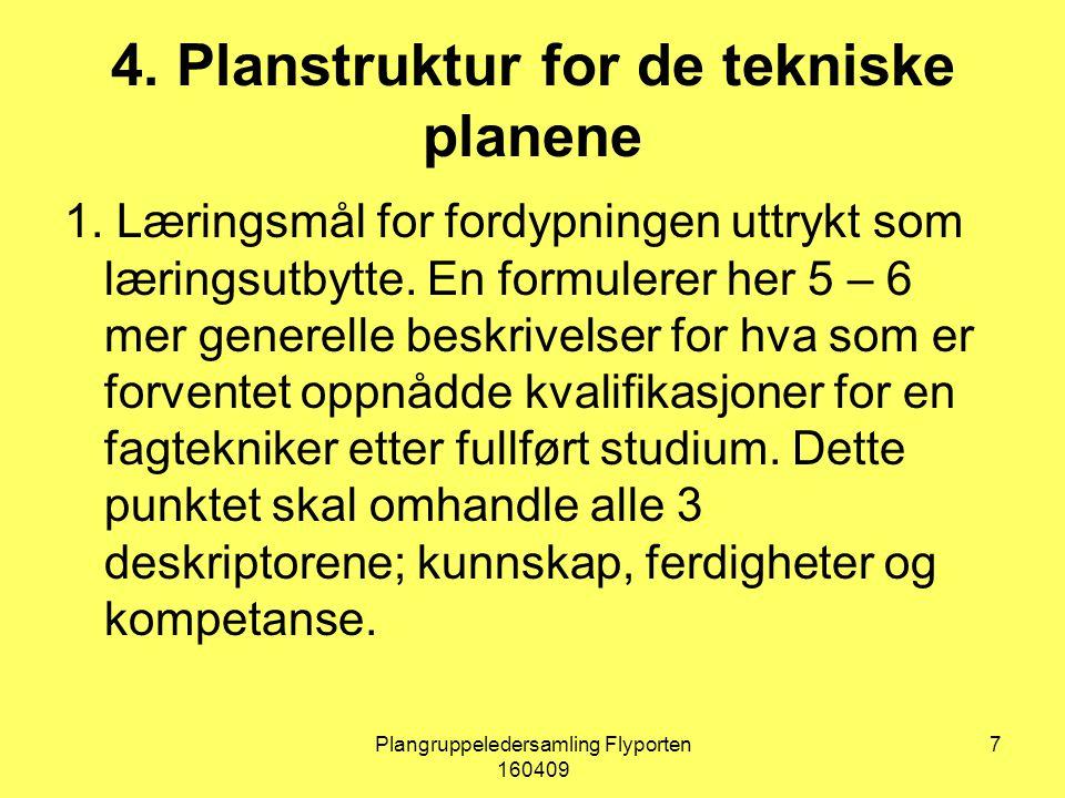 Plangruppeledersamling Flyporten 160409 7 4. Planstruktur for de tekniske planene 1.