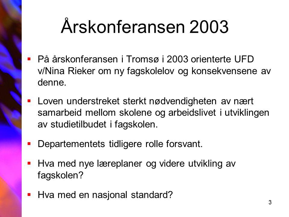 3 Årskonferansen 2003  På årskonferansen i Tromsø i 2003 orienterte UFD v/Nina Rieker om ny fagskolelov og konsekvensene av denne.  Loven understrek