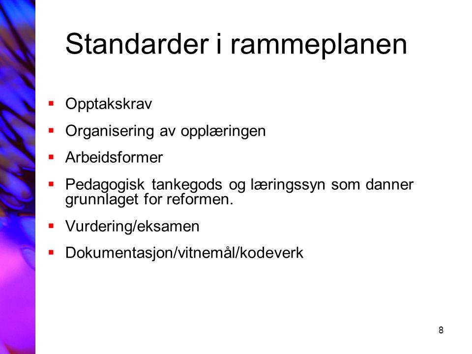 8 Standarder i rammeplanen  Opptakskrav  Organisering av opplæringen  Arbeidsformer  Pedagogisk tankegods og læringssyn som danner grunnlaget for