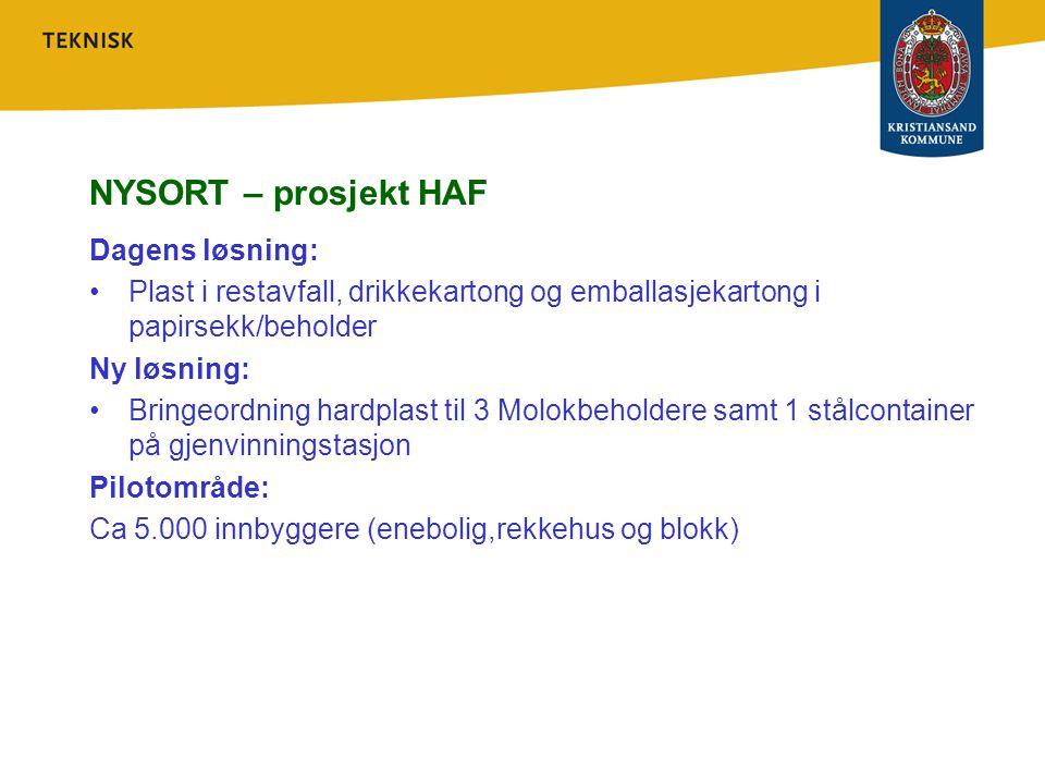 NYSORT – prosjekt HAF Dagens løsning: Plast i restavfall, drikkekartong og emballasjekartong i papirsekk/beholder Ny løsning: Bringeordning hardplast