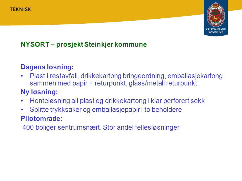 NYSORT – prosjekt Steinkjer kommune Dagens løsning: Plast i restavfall, drikkekartong bringeordning, emballasjekartong sammen med papir + returpunkt,