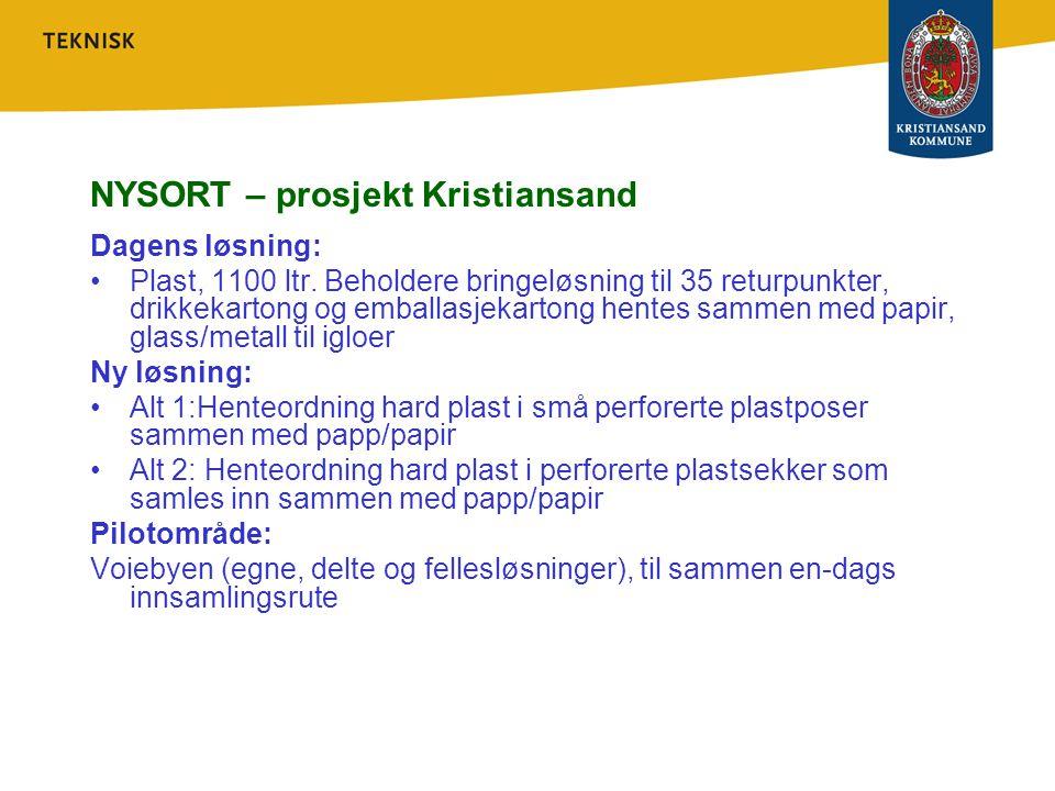 NYSORT – prosjekt Kristiansand Dagens løsning: Plast, 1100 ltr. Beholdere bringeløsning til 35 returpunkter, drikkekartong og emballasjekartong hentes