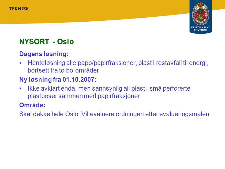 NYSORT - Oslo Dagens løsning: Henteløsning alle papp/papirfraksjoner, plast i restavfall til energi, bortsett fra to bo-områder Ny løsning fra 01.10.2