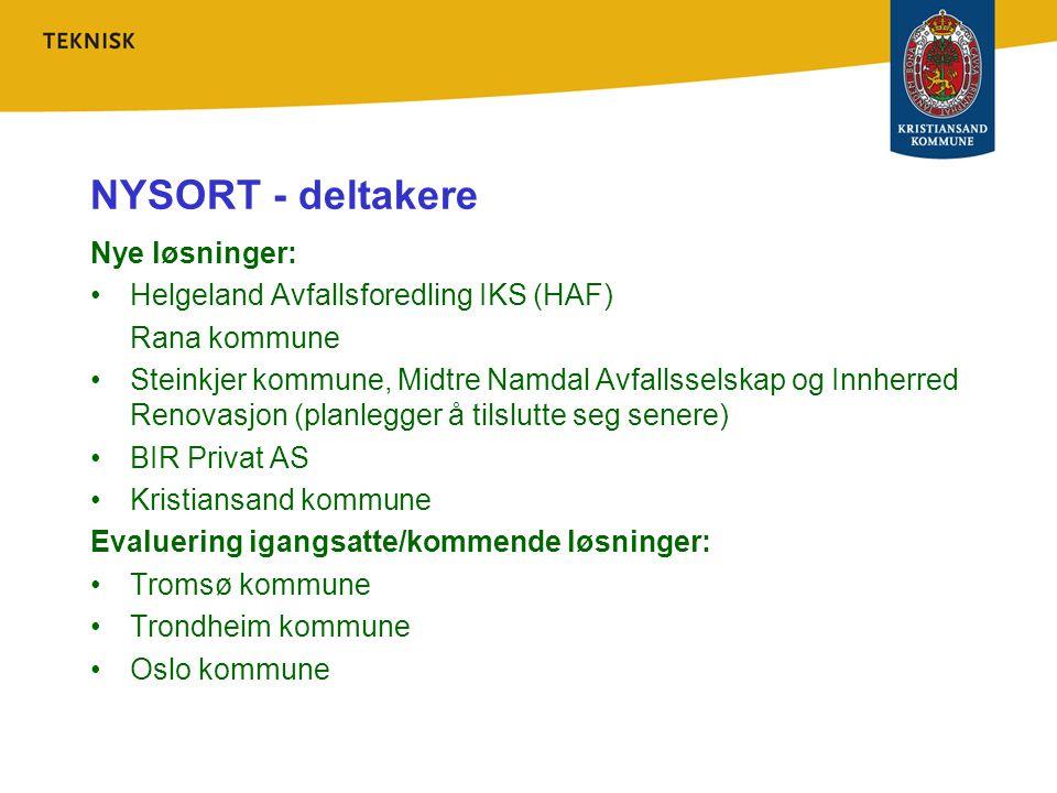 NYSORT - deltakere Nye løsninger: Helgeland Avfallsforedling IKS (HAF) Rana kommune Steinkjer kommune, Midtre Namdal Avfallsselskap og Innherred Renov