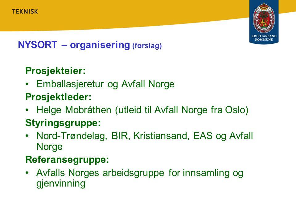 NYSORT – organisering (forslag) Prosjekteier: Emballasjeretur og Avfall Norge Prosjektleder: Helge Mobråthen (utleid til Avfall Norge fra Oslo) Styrin