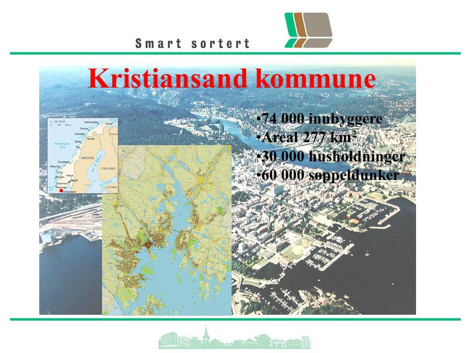 Kristiansand kommune 74 000 innbyggere Areal 277 km 2 30 000 husholdninger 60 000 søppeldunker