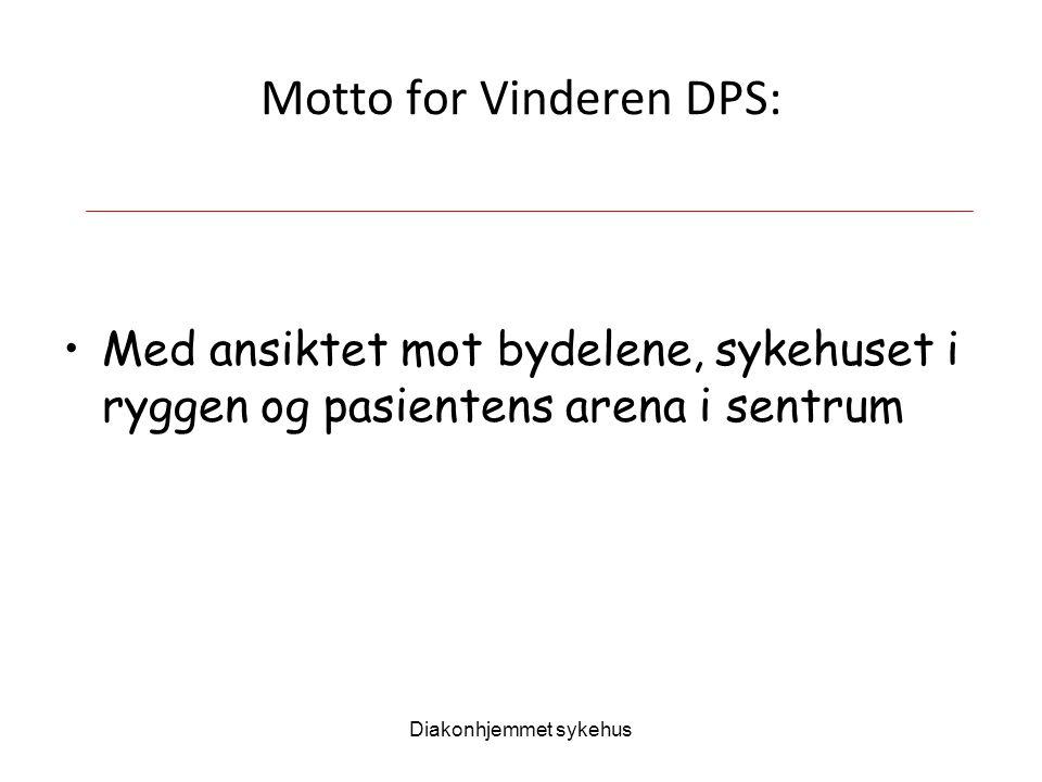 Diakonhjemmet sykehus Motto for Vinderen DPS: Med ansiktet mot bydelene, sykehuset i ryggen og pasientens arena i sentrum