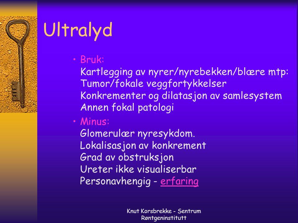 Knut Korsbrekke - Sentrum Røntgeninstitutt Ultralyd Bruk: Kartlegging av nyrer/nyrebekken/blære mtp: Tumor/fokale veggfortykkelser Konkrementer og dil