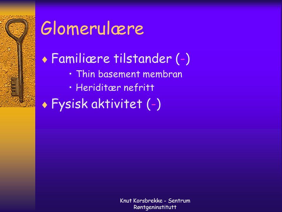 Knut Korsbrekke - Sentrum Røntgeninstitutt Ikke glomerulære- renale  Tumor (+) Adenom Carcinom Oncocytom Angiomyolipom  Infeksjon (+/-)  Metabolske (-) Hypercalcuri Hyperuricuri