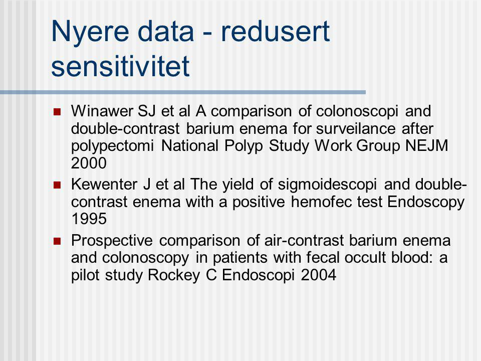 Nyere data - redusert sensitivitet Winawer SJ et al A comparison of colonoscopi and double-contrast barium enema for surveilance after polypectomi Nat