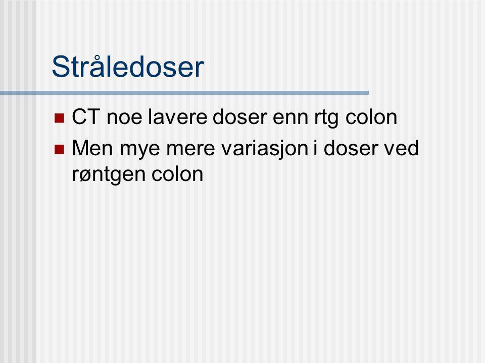 Stråledoser CT noe lavere doser enn rtg colon Men mye mere variasjon i doser ved røntgen colon