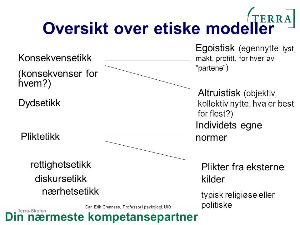 Carl Erik Grenness, Professor i psykologi, UiO Oversikt over etiske modeller Konsekvensetikk (konsekvenser for hvem?) Pliktetikk Individets egne norme