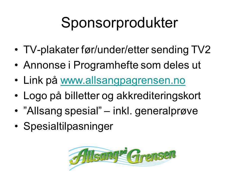Sponsorprodukter TV-plakater før/under/etter sending TV2 Annonse i Programhefte som deles ut Link på www.allsangpagrensen.nowww.allsangpagrensen.no Logo på billetter og akkrediteringskort Allsang spesial – inkl.
