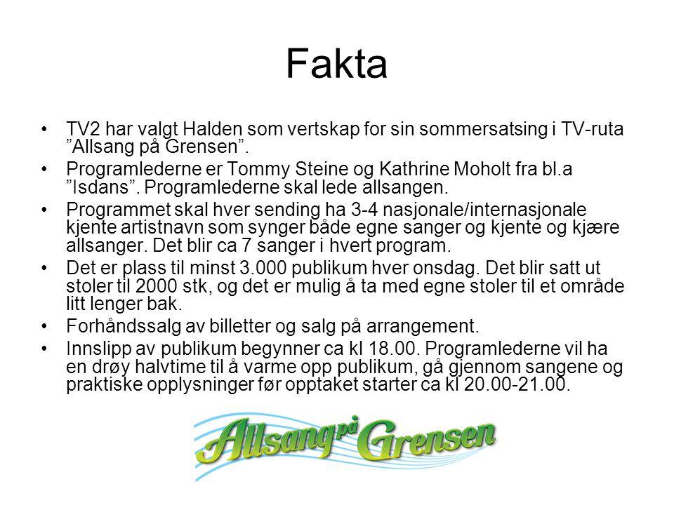 Fakta TV2 har valgt Halden som vertskap for sin sommersatsing i TV-ruta Allsang på Grensen .